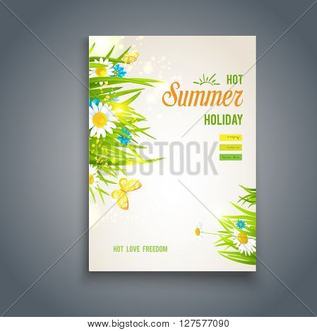 Hot summer card. Nature template for design banner,ticket, leaflet, card, poster and so on. Place for text.