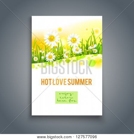 Summer card template. Nature background for design banner, invitation, ticket, leaflet, card, poster and so on. Place for text.