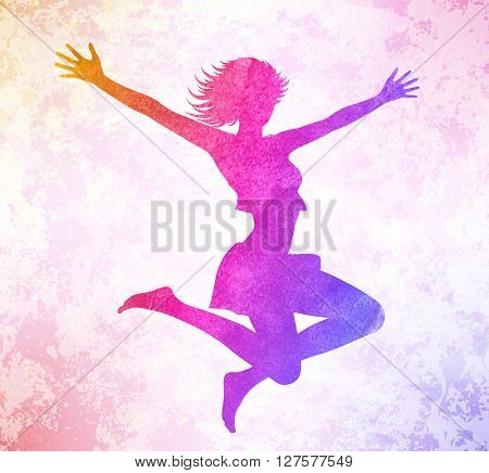 Watercolor attractive girl jumping hands up.  Vector illustration.