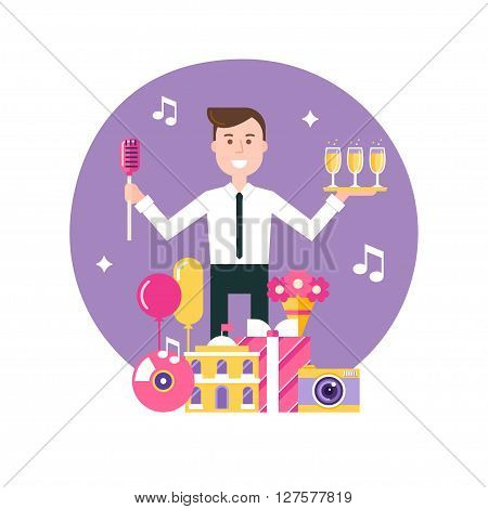 Event Manager Surrounded by Event and Party Objects. Event Management and Event Agency Vector Illustration