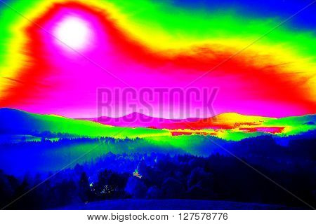 Infra Scan, Landscape Misty Panorama. Fantastic Dreamy Sunrise On Rocky Mountains With View Into Val