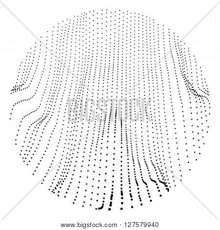 Wave Grid Background. 3d Abstract Vector Illustration. Ripple Grid. Cyberspace Grid.  Illustration with Dots.