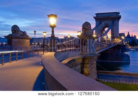 Budapest, Hungary - April 17, 2016:  The Chain Bridge, river Danube and the Pest side taken from the Buda side, early in the morning