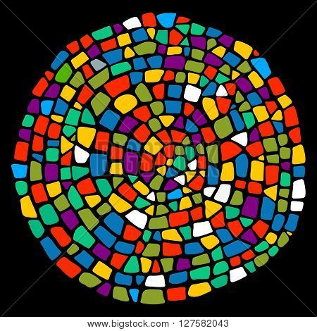Colorful mosaic background in a round shape.Mosaic style.  Ceramic tile fragments. Abstract  Colorful Mosaic element. Mosaic design element. Easy to recolor.