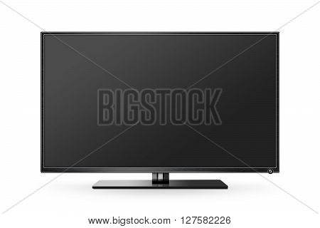 TV flat screen lcd, plasma realistic illustration, tv mock up. Black HD monitor mockup. Modern video panel black screen mock-up. Widescreen show your business presentation on flat display tv set.