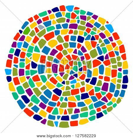 Colorful mosaic texture in a round shape. Mosaic design element. Mosaic style.  Ceramic tile fragments. Abstract  Colorful Mosaic element.  Easy to recolor.
