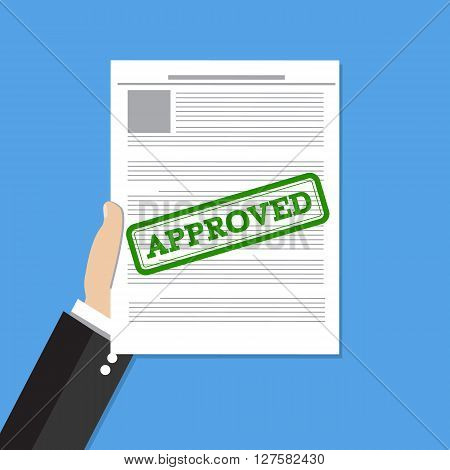 Hand holds approved document. Job application approved. Vector flat illustration