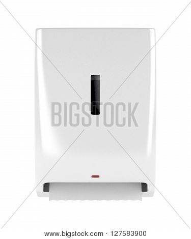 Front view of automatic paper towel dispenser isolated on white background, 3D illustration