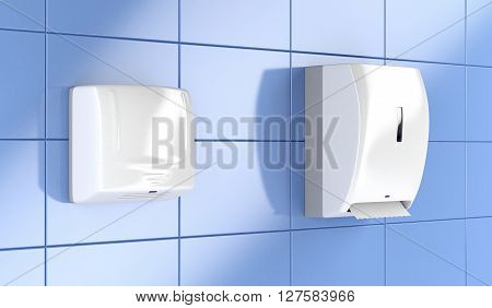 Automatic paper towel dispenser and hand dryer in public toilet, 3D illustration