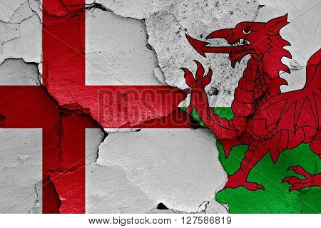 Flags Of England And Wales Painted On Cracked Wall