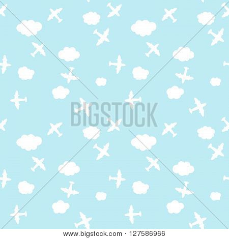 Seamless Airplane And Cloud In The Sky Pattern Background