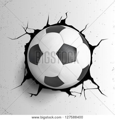 Sport Vector Illustartion With Soccer Ball Coming In Cracked Wall
