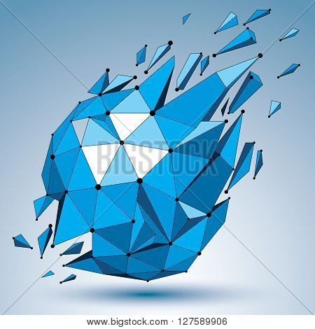3d vector low poly object with connected black and white lines and dots blue geometric wireframe shape with refractions. Asymmetric perspective shattered form.
