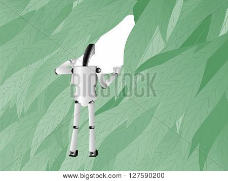 robot moves apart leaves and looking through the leaves into the future illustration