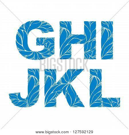 Marine Style Blue Vector Font, Typeset With Floral Elegant Ornament. G, H, I, J, K, L, Drop Caps.