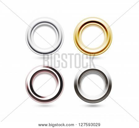 Grommets set isolated. Metal, brass, steel, gold, silver eyelets. Banner washers, curtain clips. Grommet ring design. Chrome cringles. Card, label, tag earrings. Brace steel ciclet. Grummet ear block.