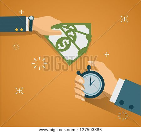 Hand with stopwatch and hand with cash. Payment methods, cash-out, smart investment, business, cash withdrawal, business, online payment concepts. Flat design. Creative vector illustration EPS10