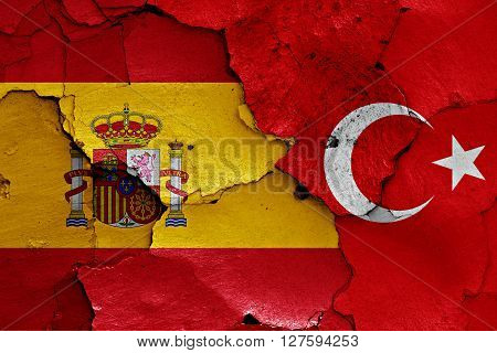 Flags Of Spain And Turkey Painted On Cracked Wall