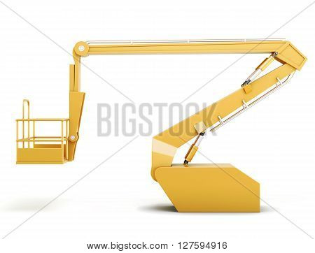 Cherry picker or boom lift isolated on white background. 3d rendering.