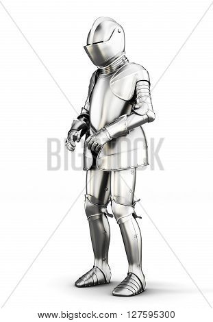 Suit of armor for all body isolated on white background. Metal armor. Medieval armor. 3d rendering