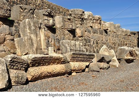 Parts of ruined synagogue in Capernaum. Israel.