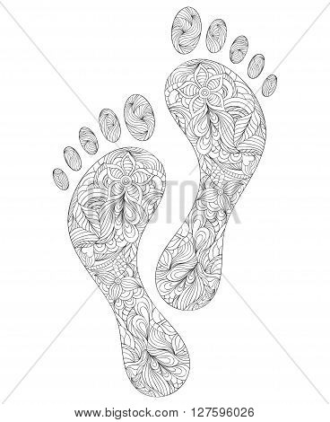 Vector illustration of floral human footprints on white background.Coloring page for adult.