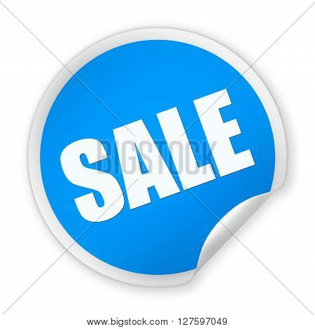 Blue paper round SALE sticker isolated over white background