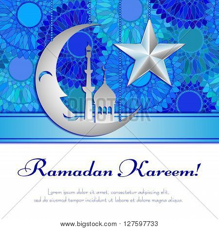 Card with silver moon and star on blue mandala pattern for greeting with Islamic holidays Ramadan, Eid al-Fitr, Eid al-Adha. Vector illustration
