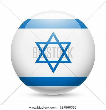 Flag of Israel as round glossy icon. Button with Israeli flag