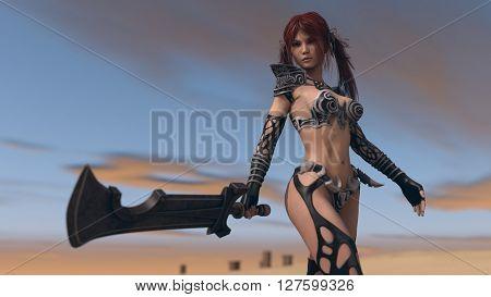 3d illustration of a fantasy warrior woman in desert environment