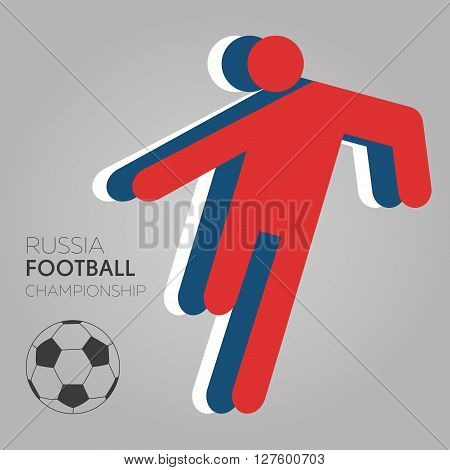 Vector festive design banner with soccer player icon in Russia flag colors. Football stylish concept
