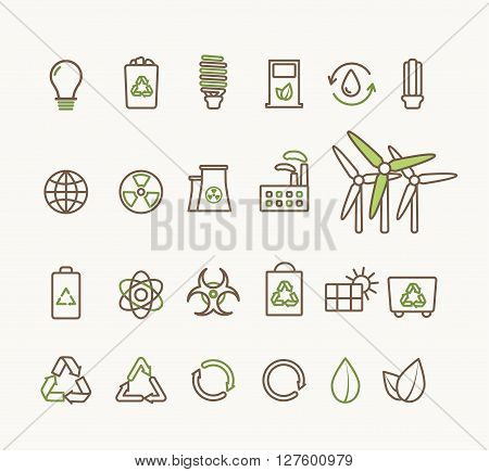 Thin line vector ecological icons set. Icons for environmental, recycling, renewable energy, nature. Ecological icons collection isolated, eco icons
