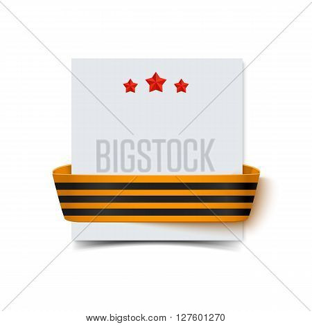 Paper card with saint george striped ribbon for 23 February and Victory Day with shadow isolated on white. Poster for Russian Happy Victory day. Vector illustration of victory day greeting card. 9 may Victory day banner concept