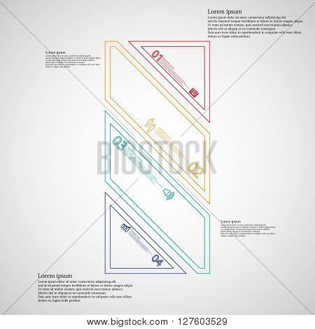 Bar rectangle infographic illustration template askew divided to four color parts. Each part contain text number and sign and is created by double outline contour.