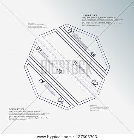 Octagon infographic illustration template askew divided to four blue parts. Each part contain text number and sign and is created by double outline contour.