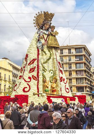 Virgen De Los Desemparados In Fallas Festival On Square Of Saint Mary's  In Valencia, Spain