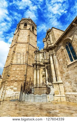 Micalet - Cathedral Of Valencia  On  Queen Square, Valencia. Spain.