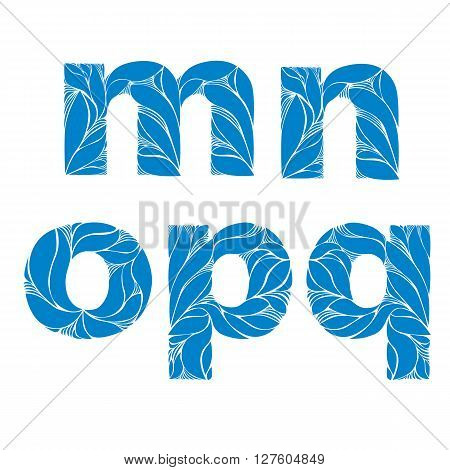 Herbal Style Blue Vector Font, Typeset With Floral Elegant Ornament. M, N, O, P, Q, Lowercase Letter