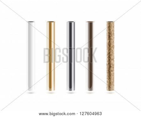 Metal pipes set isoalted on white, 3d illustration. Shiny metallic cylinder pipe, silver, grey, golden, chrome, steel, rusty. Gold pole design. Glossy color stick gradient graphic design. Rust column tube with hole.