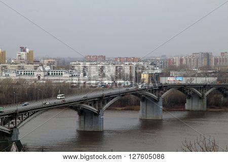 Kanavinsky bridge across the Oka river - the first bridge connecting the Nagornaya and Zarechnaya part of Nizhny Novgorod