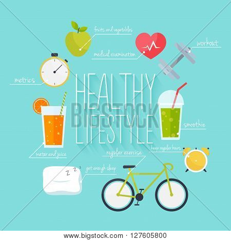 Concept Of Healthy Lifestyle Infographics. Icons For Web: Fitness, Healthy Food And Metrics. Flat De