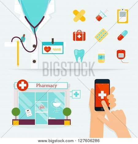 Medical Health care and emergency concept. First aid medicines pharmacy. Flat design modern vector illustration of medical icons.