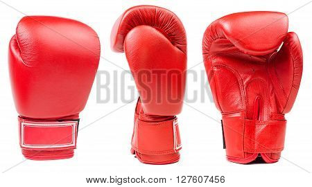 Red leather boxing glove isolated on white background