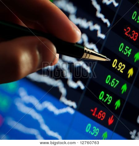 ?hart on computer monitor, market's climbing, hand and pen pointer