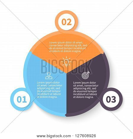 Circular infographic. Pie chart, diagram, graph with 3 steps, options, parts, processes with arrows and number options.