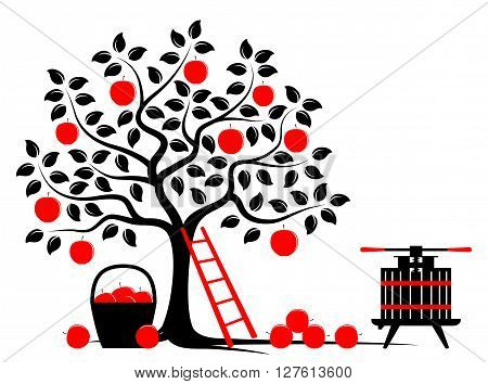 vector apple tree, basket of apples and fruit press isolated on white background
