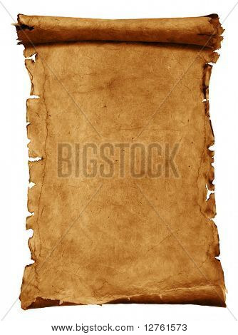 Old paper scroll isolated on white