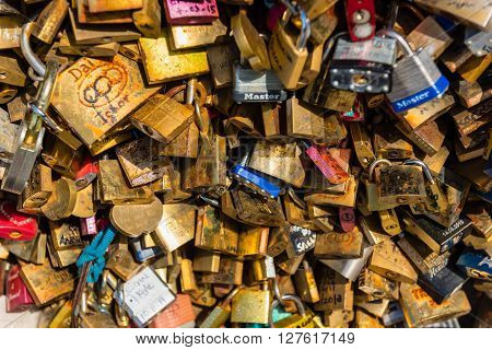 Lovers Padlocks On A Bridge In Paris