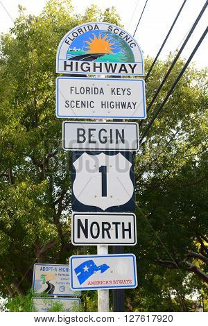 KEY WEST, FL, USA - JAN 1: Starting Point of US Route 1 sign (Mile zero) on Jan 1st, 2015 in Key West, Florida, USA.