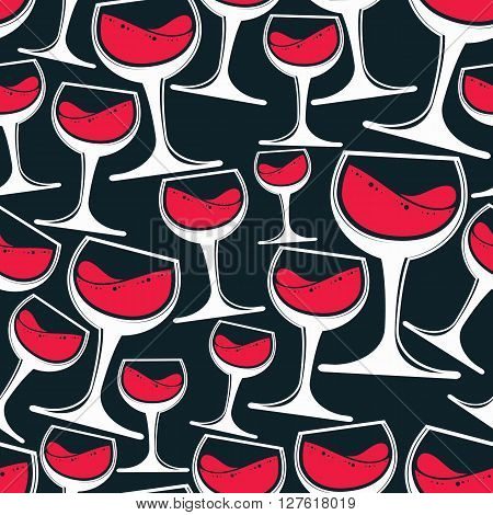 Winery theme seamless pattern vector stylish wine goblets. Wine tasting conceptual symbols continual background for graphic design.